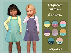 Cat pocket sundress for toddlers sims 4 cc