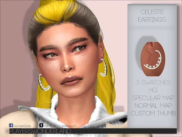 Celeste Earrings Sims 4 CC