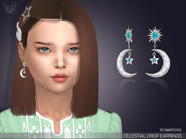 Celestial Drop Earrings For Kids Sims 4