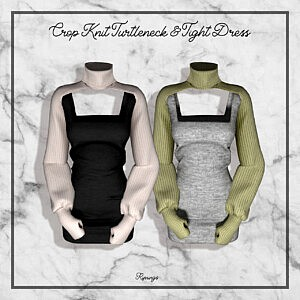 Crop Knit Turtleneck and Tight Dress Sims 4 CC