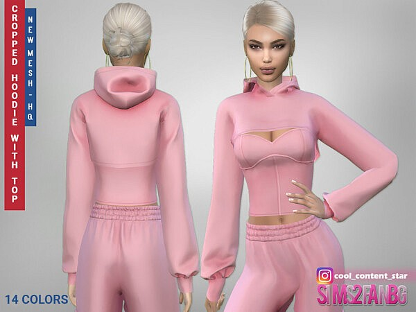 Cropped Hoodie With a Top sims 4 cc