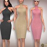 Cut Out Wool Knit Midi Dress Sims 4 CC