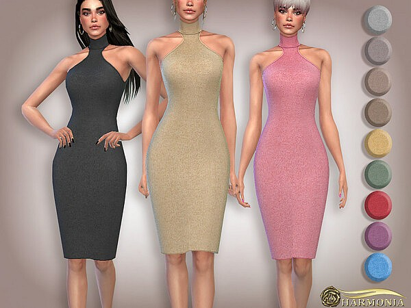Cut Out Wool Knit Midi Dress by Harmonia from TSR
