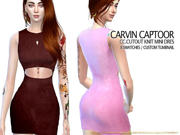 Cutout Knit Mini Dress Sims 4 CC