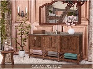 Darkwood Bathroom by MychQQQ Sims 4 CC