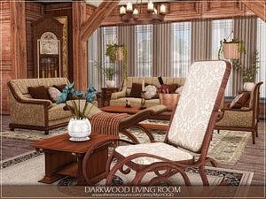 Darkwood Living Room Sims 4