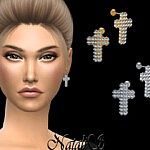 Diamond pave cross earrings sims 4 cc