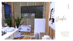 Fancy Wood Wall and Floor sims4 cc