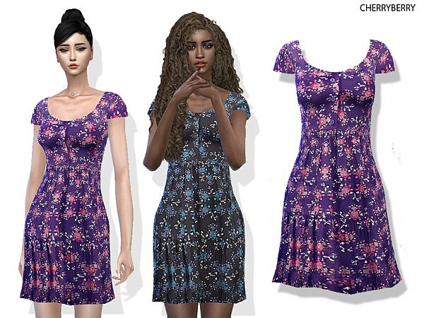 Floral Day Dress by CherryBerrySim from TSR