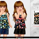 Floral Top for Girls Sims 4 CC