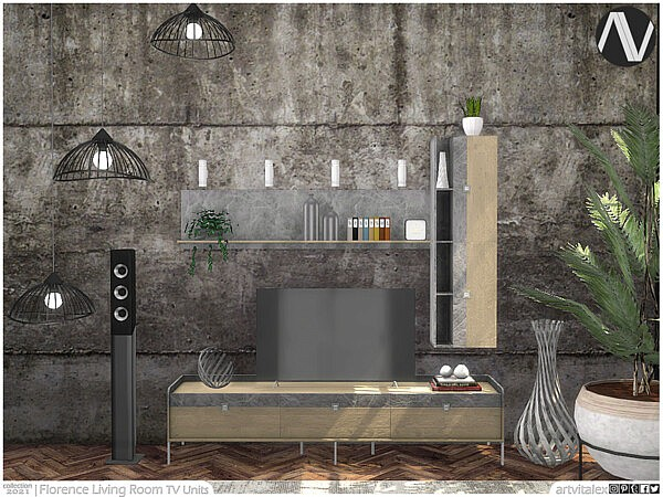 Florence Living Room TV Units sims 4 cc