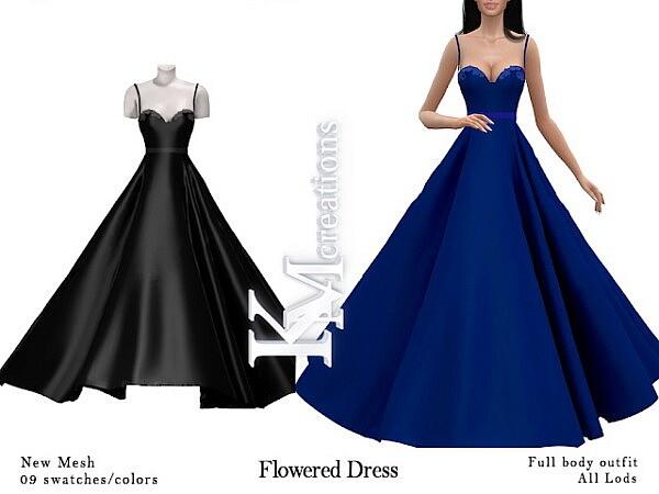 Flowered Dress Sims 4 CC