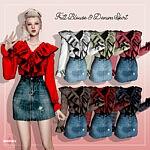 Frill Blouse and Denim Skirt