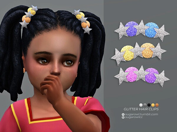 Glitter hair clips Toddlers Sims 4 cc