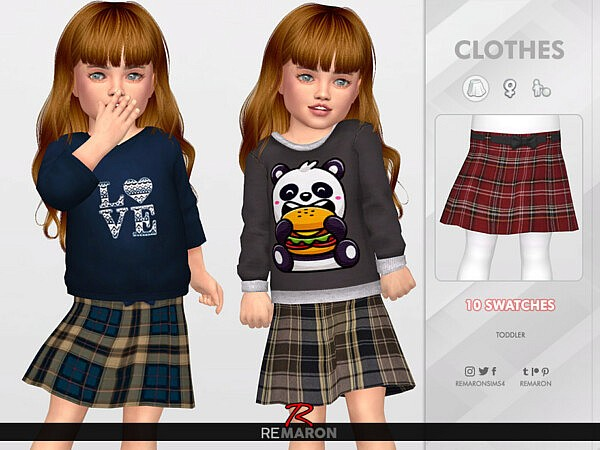 Grid Skirt for Toddler 01 by remaron from TSR