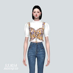 LU Frill Bustier Blouse Sims 4 CC