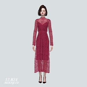 Lace See Through Long Dress Sims 4 CC