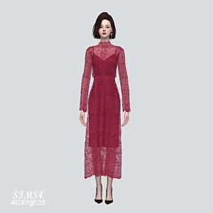 Lace See Through Long Dress Sims 4 CC