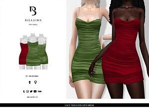 Lace Trim Satin Mini Dress