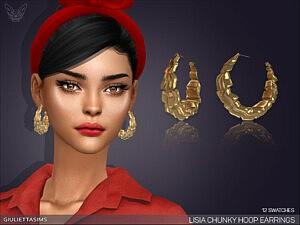 Lisia Chunky Hoop Earrings Sims 4 CC