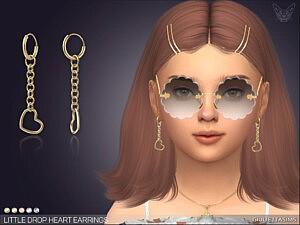 Little Heart Drop Earrings For Kids Sims 4 CC