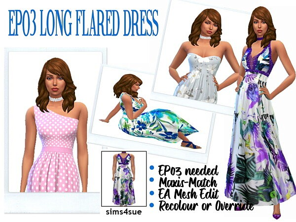 Long Flared Dress sims 4 cc1
