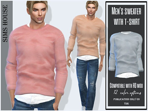 Mens sweater with t shirt Sims 4 CC