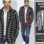 Mens unbuttoned plaid shirt Sims 4 CC