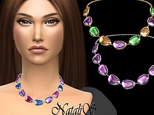 Mixed color gems necklace by NataliS