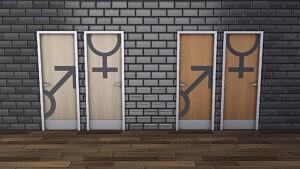 Modern Restroom Doors Sims 4 cc