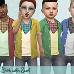 Open Shirt with Scarf Sims 4 cc