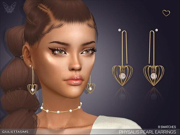 Physalis Pearl Earrings with Piercing by feyona