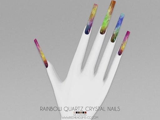 Rainbow Quartz Crystal Nails
