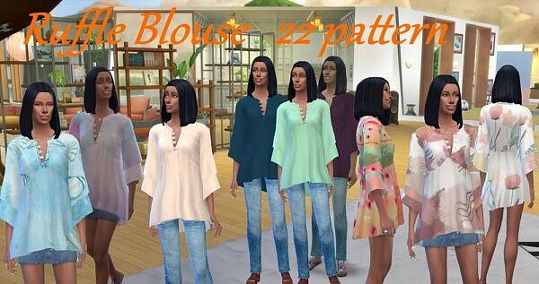 Ruffle Blouse as Top sims 4 cc
