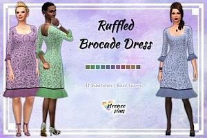 Ruffled Brocade Dress Sims 4 CC