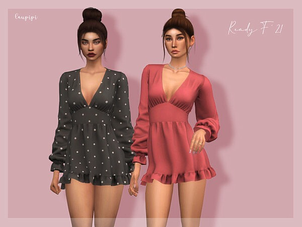 Ruffled Dress Sims 4 CC