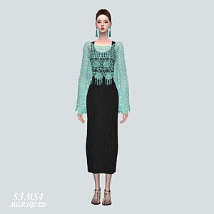 ST Mesh Long Dress sims 4 cc