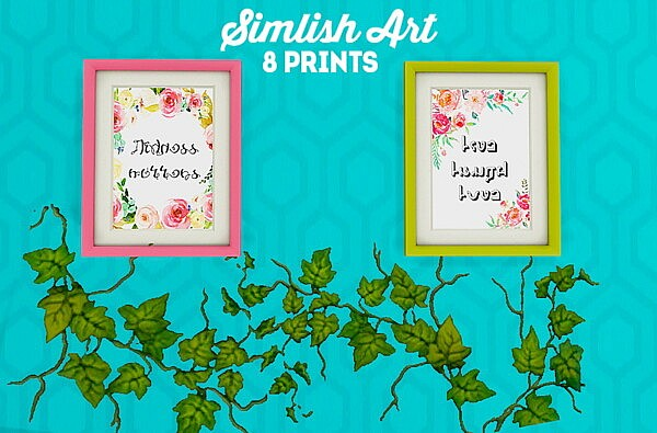 Simlish prints Sims 4 Decor