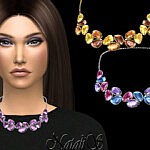 Sims 4 CC Mixed color gems necklace