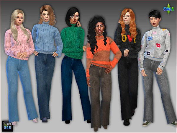 Sims 4 CC Sweaters and jeans