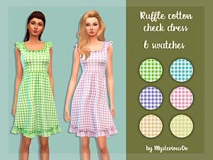 Sims 4 Ruffle cotton check dress