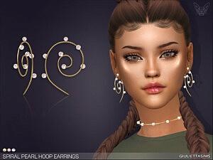 Spiral Pearl Hoop Earrings sims 4 cc