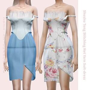 Stitching Net Yarn Suit Dress Sims 4 CC