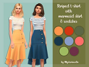 Striped t-shirt with mermaid skirt by MysteriousOo