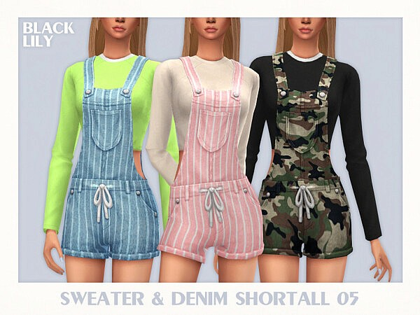 Sweater and Denim Shortall 05 by Black Lily from TSR