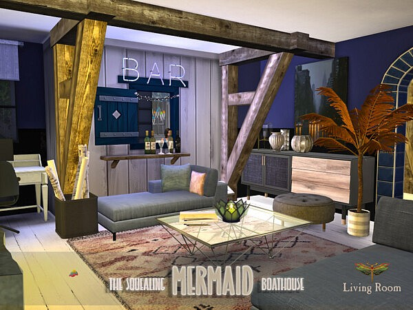 The Squealing Mermaid Boathouse Living Sims 4 CC