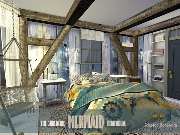 The Squealing Mermaid Boathouse Master Bedroom Sims 4 CC