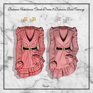Unbalance Check Dress Sims 4 CC