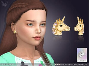 Unicorn Stud Earrings For Kids Sims 4 CC