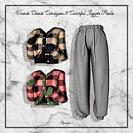 V neck Check Cardigan and Colorful Jogger Pants sims 4 cc